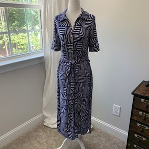 LEOTA patterned dress with tie
